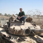 Author on Iraqi Tank