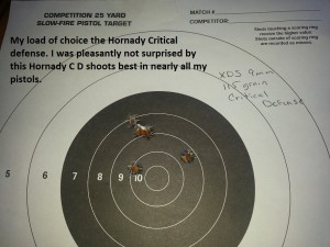 XDS 9mm group with Hornady Critical Defense