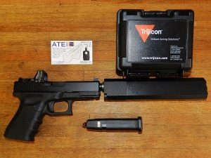 Glock 19 - ATEi mounted Trijicon RMR04 - Silencerco Osprey 40 suppressor
