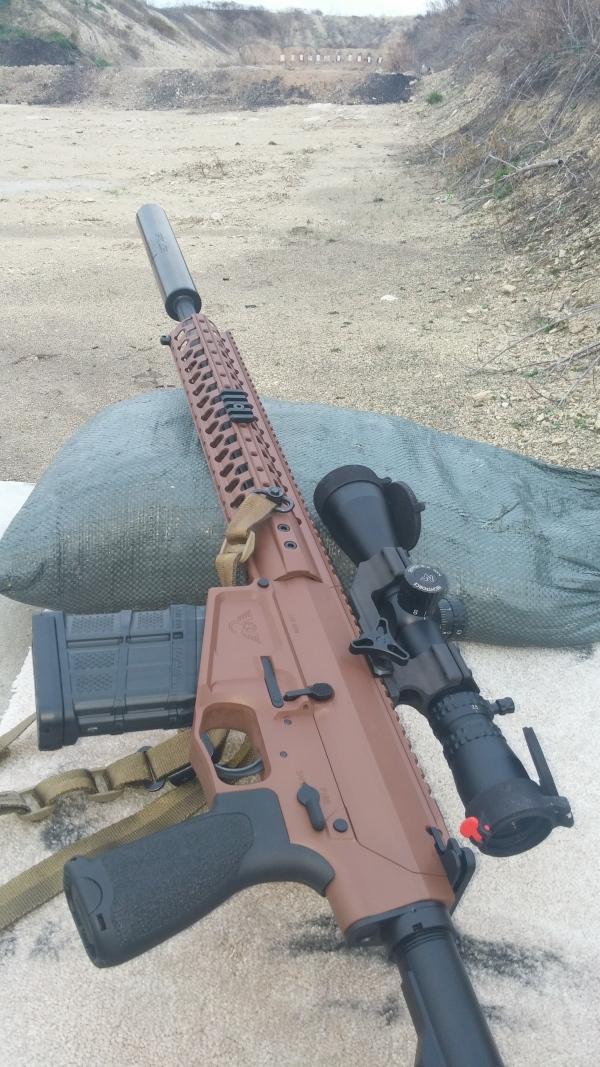 "Wilson Combat AR10 308, Recon with 18"" fluted barrel in Federal Brown Nightforce NSX 2.5-10x42 Templar Tactical Archangel Suppressor"