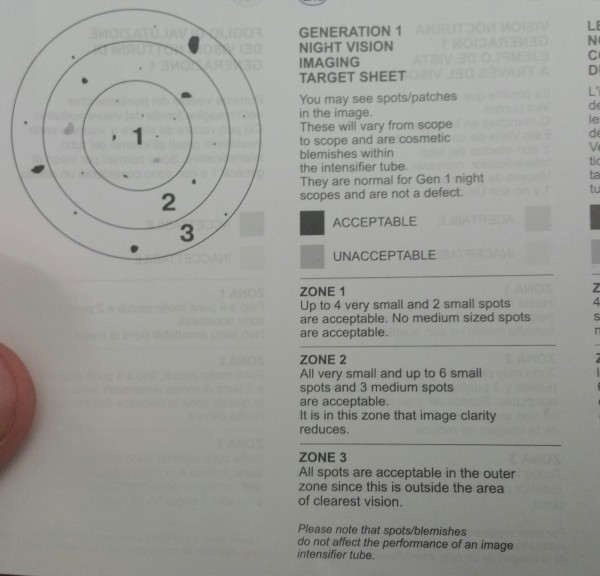 This is SightMarks page on what is acceptable in a Gen 1 tube as far as spots. Mine are not near this spotty. So that's good.