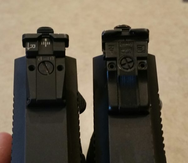 Different rear sights, I prefer the later version on left.